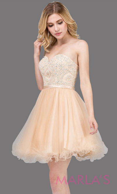 3014.4-Short strapless puffy grade 8 grad champagne dress with lace top & satin ribbon. This light gold graduation dress is perfect for bat mitzvah, homecoming, quinceanera damas. Plus Sizes Available.