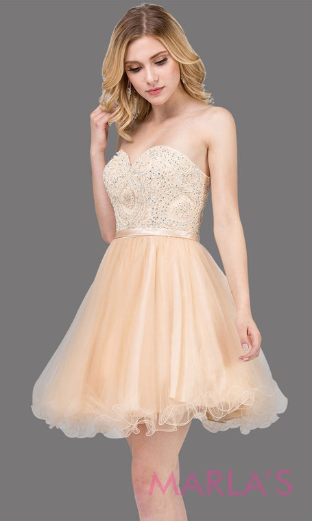 0fb607a5ae1 3014.4-Short strapless puffy grade 8 grad champagne dress with lace top    satin ribbon