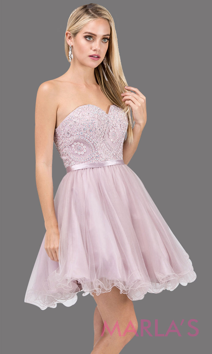 3014.4-Short strapless puffy grade 8 grad dusty pink dress with lace top & satin ribbon. This light pink graduation dress is perfect for bat mitzvah, homecoming, quinceanera damas. Plus Sizes Available.