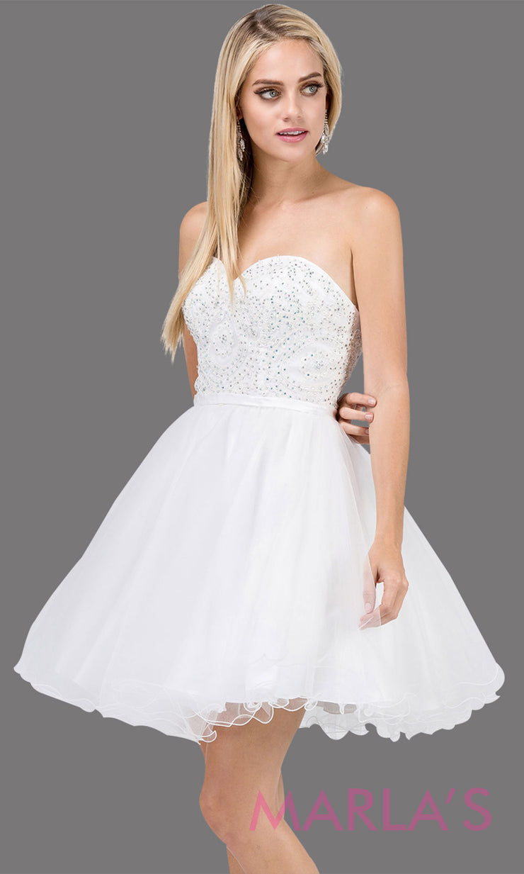 3014.4-Short strapless puffy grade 8 grad white dress with lace top & satin ribbon.This white graduation dress is perfect for bat mitzvah,homecoming,quinceanera damas, jr. bridesmaid. Plus Sizes Available.