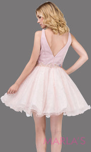 3019.4BShort V neck puffy dusty pink grade 8 grad dress with glitter skirt.This light pink graduation dress is perfect for bat mitzvah, quinceanera damas, confirmation, junior bridesmaid. Plus sizes avail.