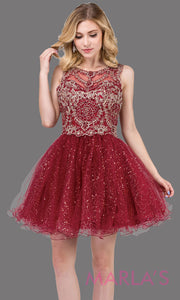 3023.4-Short high neck burgundy red grade 8 grad dress with puffy glitter skirt. This dark red graduation dress is perfect for quinceanera damas, bat mitzvah, confirmation, homecoming. Plus  sizes avail.