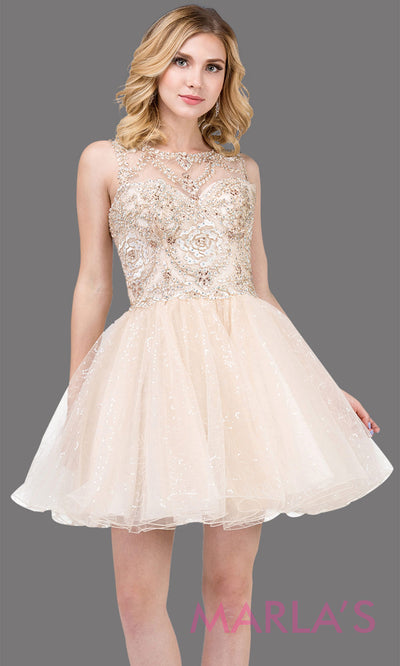3023.4-Short high neck champagne gold grade 8 grad dress with puffy glitter skirt. This light gold graduation dress is perfect for quinceanera damas,bat mitzvah, confirmation, homecoming. Plus sizes avail.