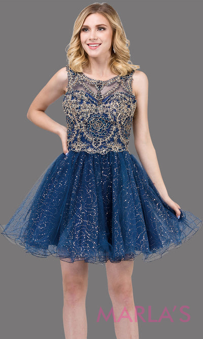 3023.4-Short high neck navy blue grade 8 grad dress with puffy glitter skirt. This dark blue graduation dress is perfect for quinceanera damas,bat mitzvah, confirmation, homecoming. Plus sizes avail.