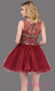 3023.4BShort high neck burgundy red grade 8 grad dress with puffy glitter skirt. This dark red graduation dress is perfect for quinceanera damas, bat mitzvah, confirmation, homecoming. Plus  sizes avail.
