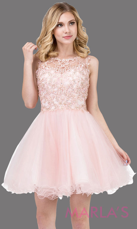 fd057e938d 3024.4-Short high neck blush pink grade 8 grad dress with lace top   puffy