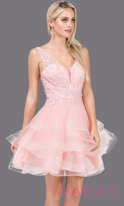 3026.4-Short  v neck blush pink grade 8 grad dress with wide straps and low back. Perfect light pink graduation dress for bat mitzvah, quinceanera damas, sweet 16, debut, homecoming. Plus sizes avail.