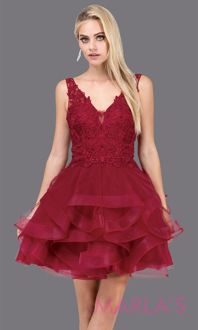 3026.4-Short  v neck burgundy red grade 8 grad dress with wide straps and low back. Perfect dark red graduation dress for bat mitzvah, quinceanera damas, sweet 16, debut, homecoming. Plus sizes avail.