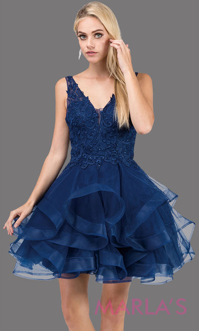 3026.4-Short  v neck navy blue grade 8 grad dress with wide straps and low back. Perfect dark blue graduation dress for bat mitzvah, quinceanera damas, sweet 16, debut, homecoming. Plus sizes avail.