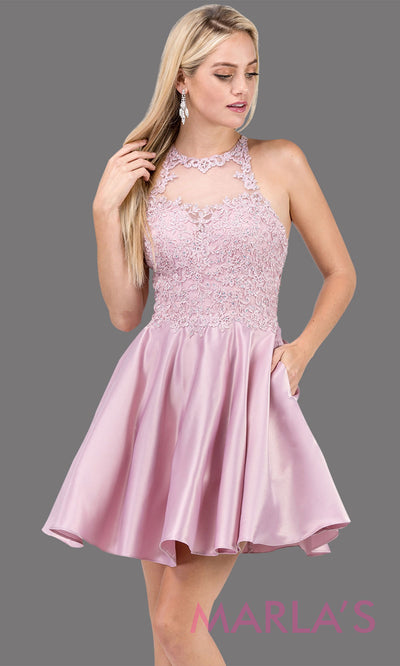 3028.4-Short high neck dusty pink grade 8 grad dress with satin skirt & pockets. Light pink graduation dress is perfect for confirmation, quinceanera damas, homecoming, junior bridesmaids. Plus Sizes Avail