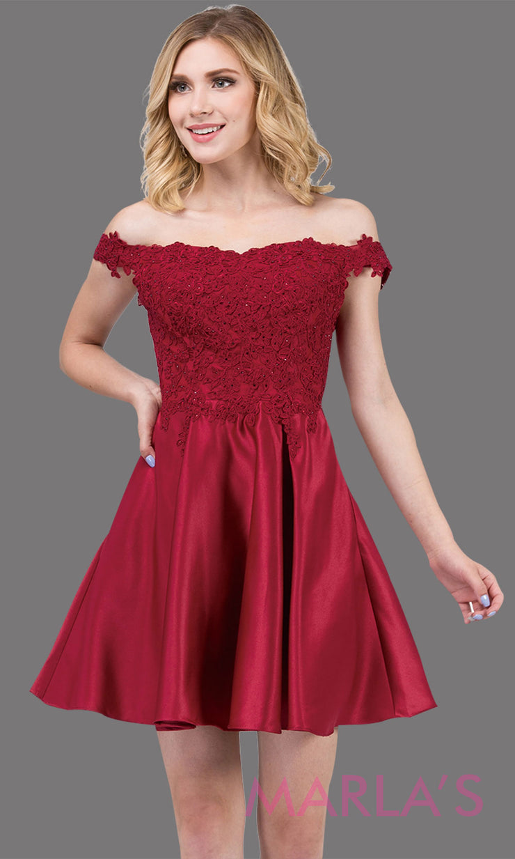 3029.4-Short off shoulder flowy burgundy red grade 8 graduation dress with satin skirt and pockets.Dark red graduation dress is perfect for  confirmation, quinceanera damas, jr bridesmaids.Plus size Avail.