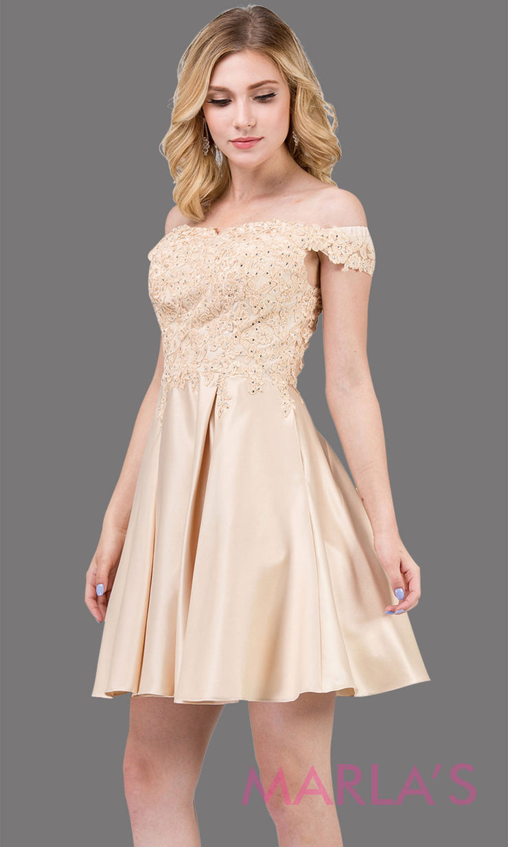3029.4-Short off shoulder flowy champagne grade 8 graduation dress with satin skirt and pockets. Light gold graduation dress is perfect for  confirmation, quinceanera damas, jr bridesmaids.Plus size Avail.