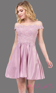 3029.4-Short off shoulder flowy dusty pink grade 8 graduation dress with satin skirt and pockets. Light pinkgraduation dress is perfect for  confirmation, quinceanera damas, jr bridesmaids.Plus size Avail.