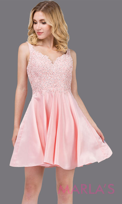 3036.4-Short v neck blush pink grade 8 grad dress with lace top. This flowy light pink lace graduation dress is perfect for quinceanera damas, confirmation, sweet 16, junior bridesmaids. Plus sizes avail.