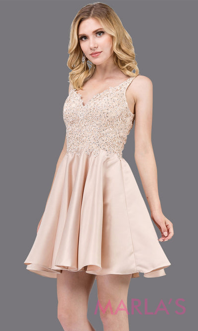 3036.4-Short v neck champagne grade 8 grad dress with lace top. This flowy light beige lace graduation dress is perfect for quinceanera damas, confirmation, sweet 16, junior bridesmaids. Plus sizes avail.