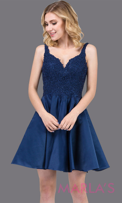 3036.4-Short v neck navy blue grade 8 grad dress with lace top. This flowy dark blue lace graduation dress is perfect for quinceanera damas, confirmation, sweet 16, junior bridesmaids. Plus sizes avail.