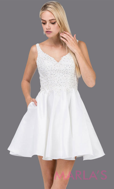 3036.4-Short v neck white grade 8 grad dress with lace top & straps. This flowy white lace graduation dress is perfect for quinceanera damas, confirmation, sweet 16, junior bridesmaids. Plus sizes avail.