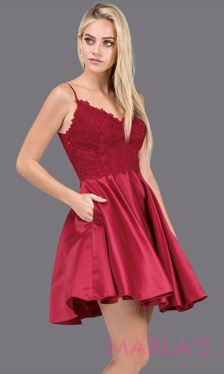 8d1bee315d0b1 3037.4-Short burgundy red simple grade 8 grad dress with lace and satin  skirt.