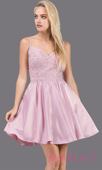 3037.4-Short dusty pink simple grade 8 grad dress with lace and satin skirt. Light pink graduation dress is perfect for quinceanera damas, confirmation, junior bridesmaids, bat mitzvah. Plus size avail.