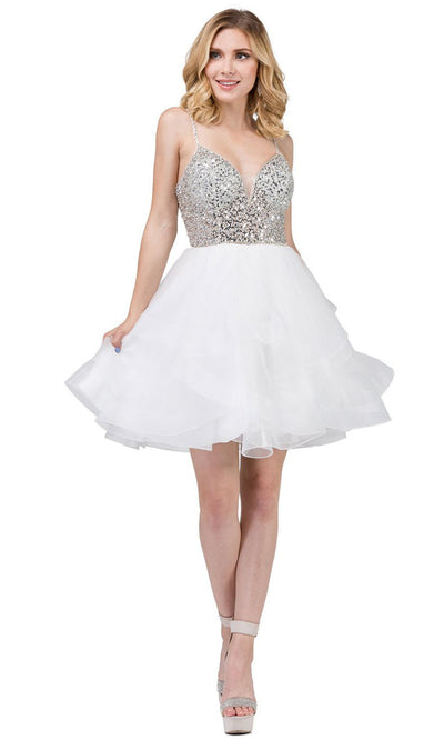 Dancing Queen - 3050 Embellished Deep V Neck A-Line Dress In White