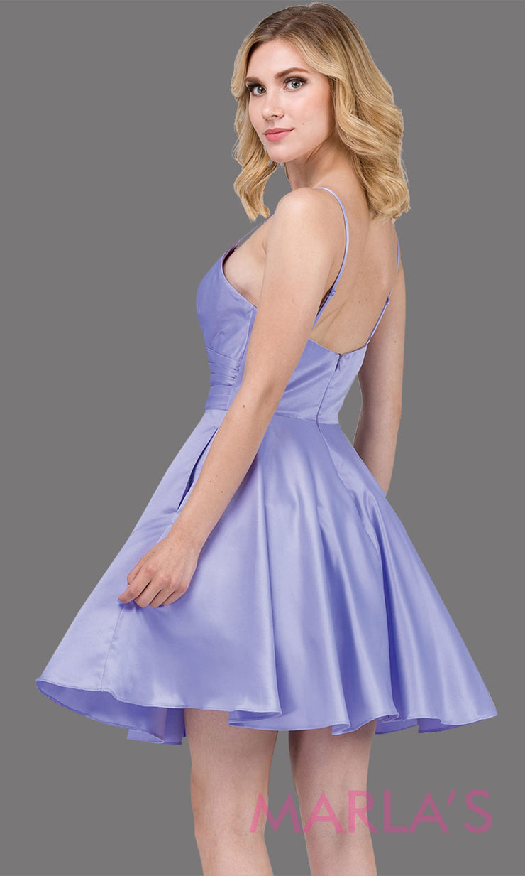 Back Short & simple satin flowy lilac grade 8 grad dress with pockets & straps.This light purple graduation dress is perfect for quinceanera damas,confirmation,junior bridesmaids,bat mitzvah.Plus sizes Avail