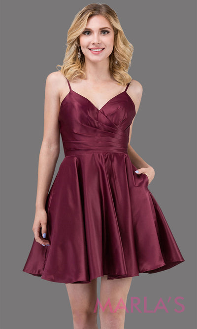 Short & simple satin flowy burgundy grade 8 grad dress with pockets & straps.This dark red graduation dress is perfect for quinceanera damas,confirmation,junior bridesmaids,bat mitzvah.Plus sizes