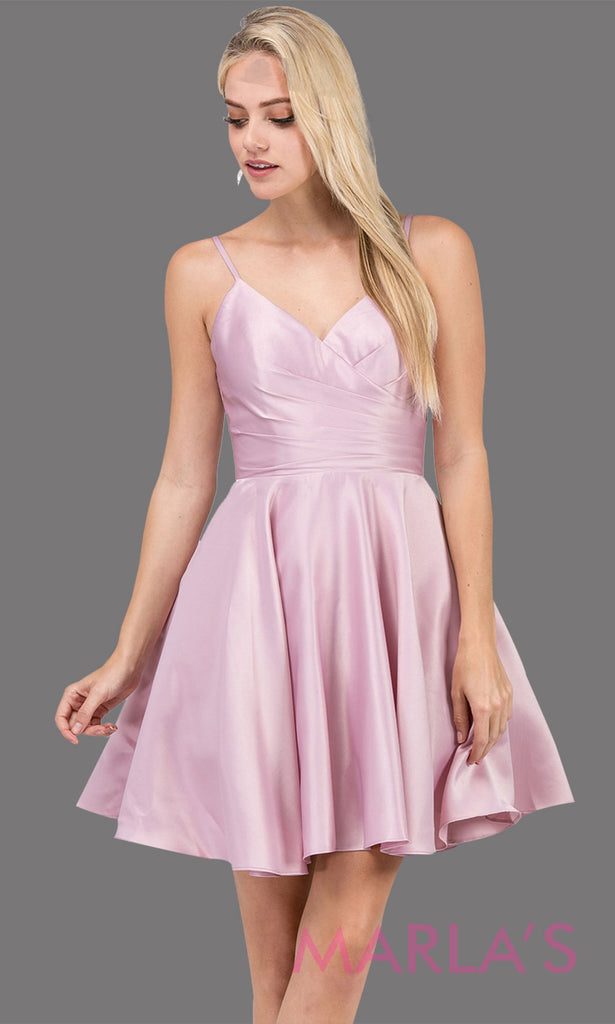 24842d1626f Short   simple satin flowy dusty pink grade 8 grad dress with pockets    straps.