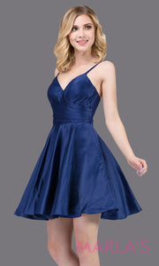 Short & simple satin flowy navy blue grade 8 grad dress with pockets & straps.This dark blue graduation dress is perfect for quinceanera damas,confirmation,junior bridesmaids,bat mitzvah.Plus sizes