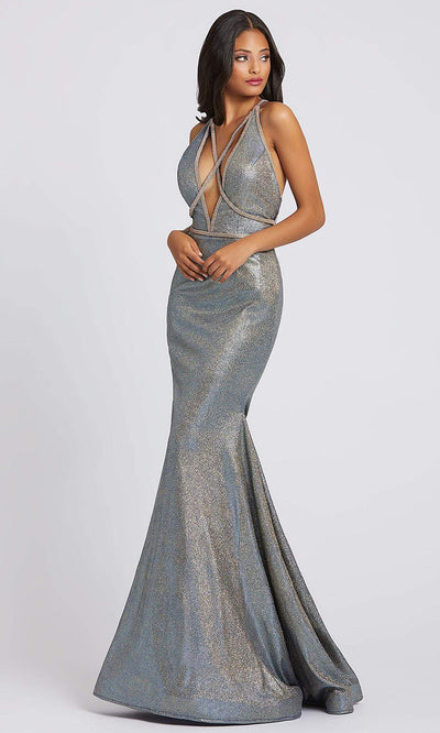 Mac Duggal - 30603A Strappy Metallic Bodice Mermaid Dress In Silver & Gray