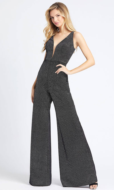 Mac Duggal - 30618A Plunging V-Neck Flared Jumpsuit In Black