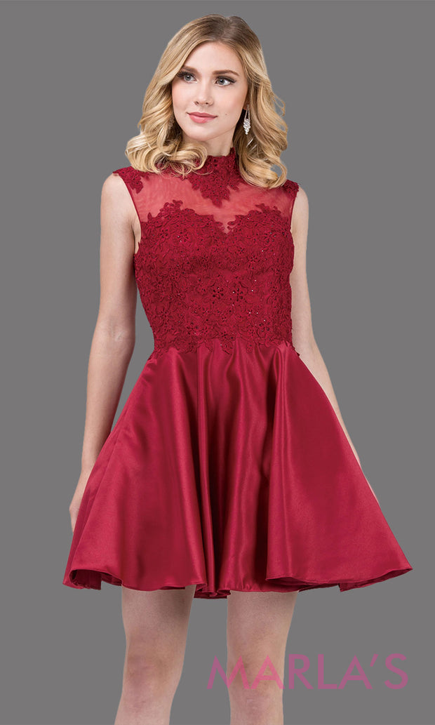 3069.4-Short & simple high neck lace burgundy red grade 8 grad dress with satin skirt.This dark red graduation dress is great for quinceanera damas, confirmation, sweet 16, jr. bridesmaid.Plus sizes avail.