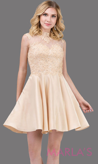 3069.4-Short & simple high neck lace champagne grade 8 grad dress with satin skirt.This light gold graduation dress is great for quinceanera damas, confirmation, sweet 16, jr. bridesmaid.Plus sizes avail.