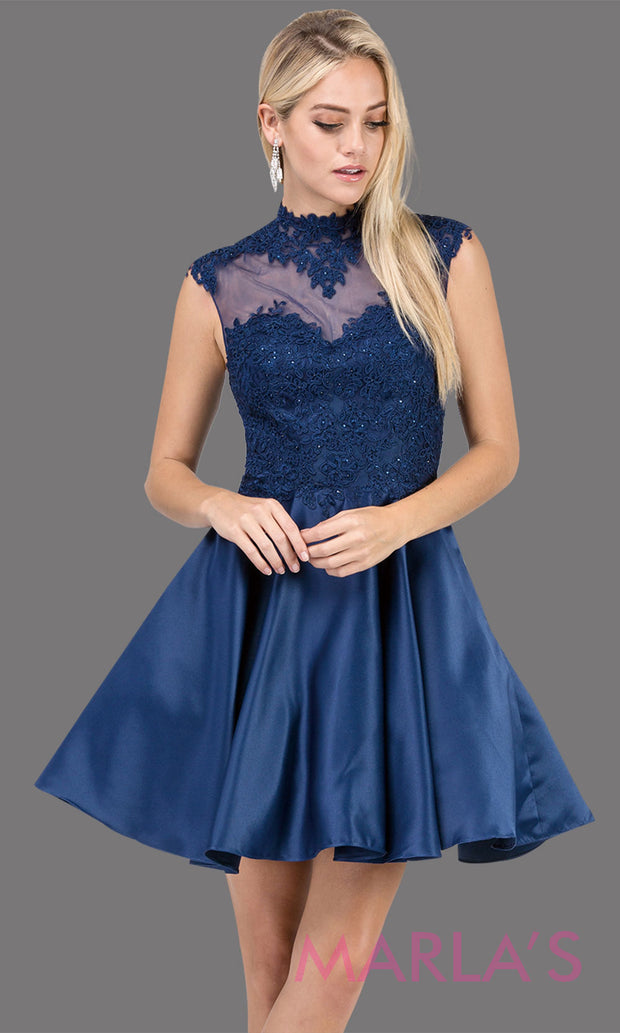 3069.4-Short & simple high neck lace navy blue grade 8 grad dress with satin skirt.This dark blue graduation dress is great for quinceanera damas, confirmation, sweet 16, jr. bridesmaid.Plus sizes avail.