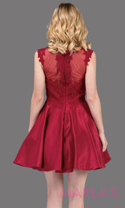 3069.4BShort & simple high neck lace burgundy red grade 8 grad dress with satin skirt.This dark red graduation dress is great for quinceanera damas, confirmation, sweet 16, jr. bridesmaid.Plus sizes avail.