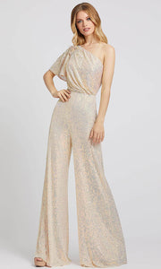 Mac Duggal - 30692A Draped One Shoulder Sequined Jumpsuit In Champagne & Gold