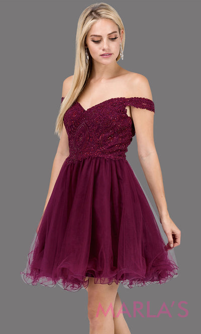 Short off shoulder burgundy red grade 8 grad dress with lace top and puffy skirt. This dark red graduation dress is great for quinceanera damas, confirmation, junior bridesmaids. Plus sizes avail.