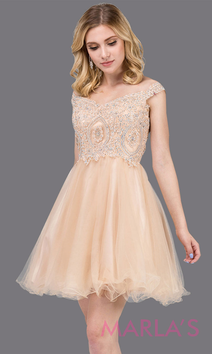 Short off shoulder champagne gold grade 8 grad dress with lace top and puffy skirt. This light gold graduation dress is great for quinceanera damas, confirmation, junior bridesmaids.Plus sizes avail