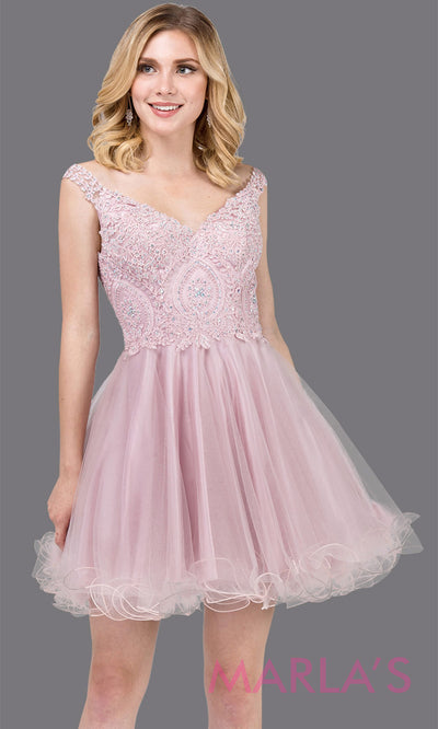 Short off shoulder dusty pink grade 8 grad dress with lace top and puffy skirt. This light pink graduation dress is great for quinceanera damas, confirmation, junior bridesmaids. Plus sizes avail.