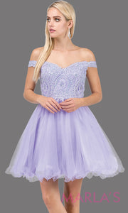3070.4-Short off shoulder lilac grade 8 grad dress with lace top and puffy skirt. This light purple graduation dress is great for quinceanera damas, confirmation, junior bridesmaids. Plus sizes avail.