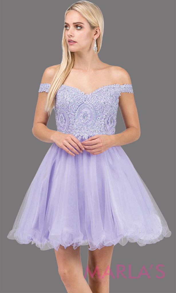 dfbba5b5d6a2 3070.4-Short off shoulder lilac grade 8 grad dress with lace top and puffy  skirt ...