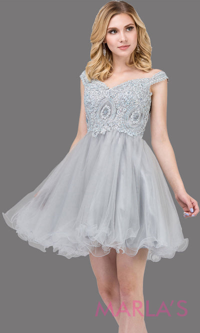 Short off shoulder silver gray grade 8 grad dress with lace top and puffy skirt. This light grey graduation dress is great for quinceanera damas, confirmation, junior bridesmaids. Plus sizes avail.