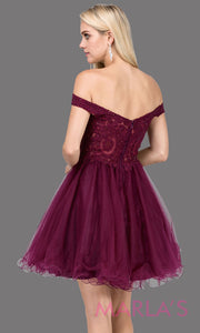 Back of Short off shoulder burgundy red grade 8 grad dress with lace top and puffy skirt. This dark red graduation dress is great for quinceanera damas, confirmation, junior bridesmaids. Plus sizes avail.