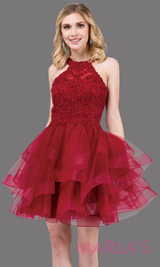 3078.4-Short high neck lace burgundy red grade 8 grad dress with frilly tulle skirt and open back. This dark red graduation dress is perfect for quinceanera damas, sweet 16, sweet 15. Plus sizes avail.