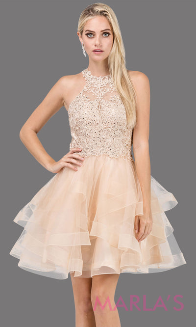 3078.4-Short high neck lace champagne gold grade 8 grad dress with frilly tulle skirt and open back. This light gold graduation dress is perfect for quinceanera damas, sweet 16, sweet 15. Plus sizes avail.