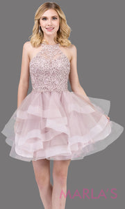 3078.4-Short high neck lace dusty pink grade 8 grad dress with frilly tulle skirt and open back. This light pink graduation dress is perfect for quinceanera damas, sweet 16, sweet 15. Plus sizes avail.