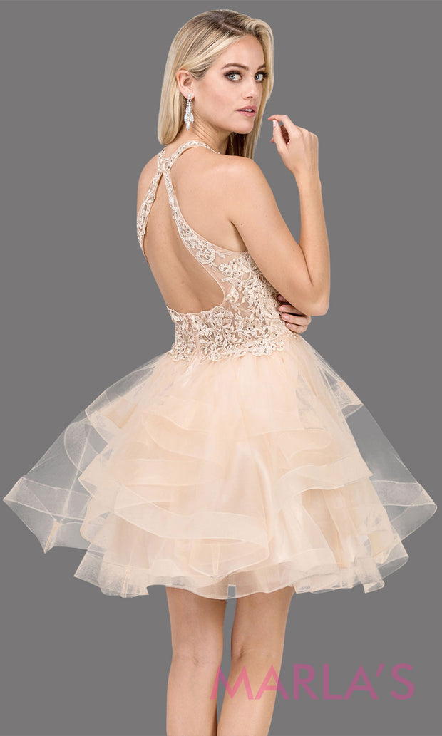3078.4BShort high neck lace champagne gold grade 8 grad dress with frilly tulle skirt and open back. This light gold graduation dress is perfect for quinceanera damas, sweet 16, sweet 15. Plus sizes avail.