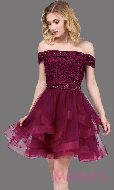 3079.4-Short off shoulder burgundy red grade 8 grad dress with lace top. This dark red graduation dress is perfect for quinceanera damas, sweet 16 birthday, sweet 15, bat mitzvah. Plus Sizes Avail.