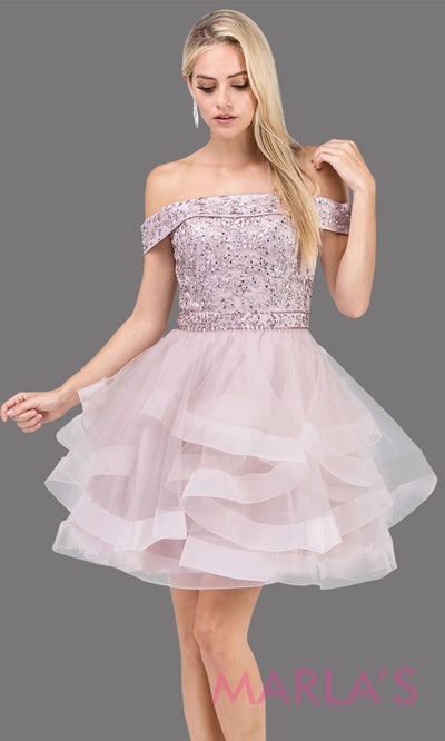 3079.4-Short off shoulder dusty pink grade 8 grad dress with lace top. This light pink graduation dress is perfect for quinceanera damas, sweet 16 birthday, sweet 15, bat mitzvah. Plus Sizes Avail.