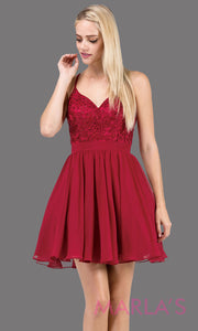 3088.4-Short burgundy red flowy chiffon grade 8 grad dress with straps and lace.This v neck dark red graduation dress is great for quinceanera damas, confirmation,bat mitzvah,junior bridesmaid. Plus size Avail