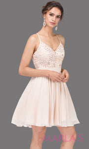 3088.4-Short champagne flowy chiffon grade 8 grad dress with straps and lace.This v neck light gold graduation dress is great for quinceanera damas, confirmation,bat mitzvah,junior bridesmaid. Plus size Avail